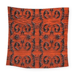 3d Metal Pattern On Wood Square Tapestry (large)