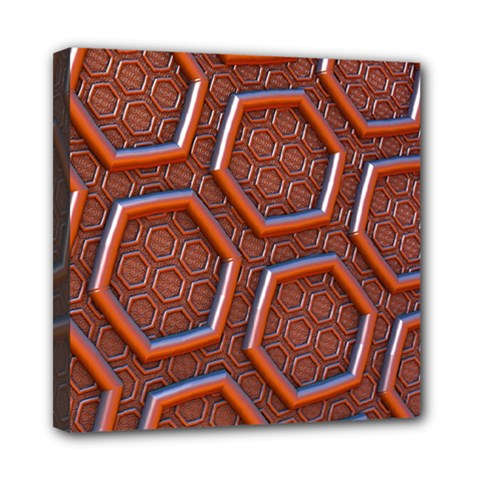 3d Abstract Patterns Hexagons Honeycomb Mini Canvas 8  x 8