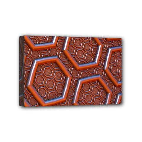 3d Abstract Patterns Hexagons Honeycomb Mini Canvas 6  X 4