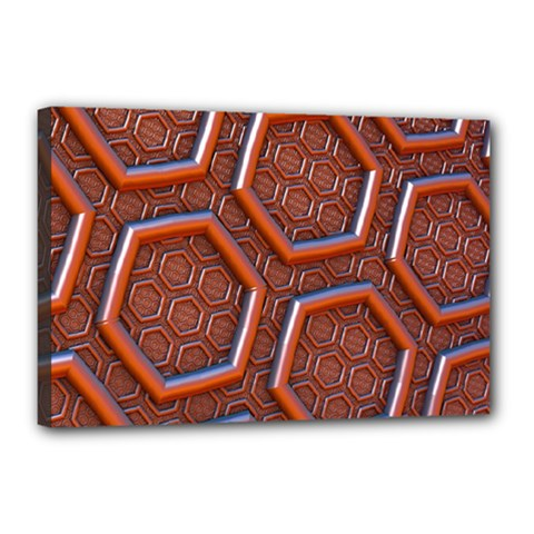 3d Abstract Patterns Hexagons Honeycomb Canvas 18  x 12