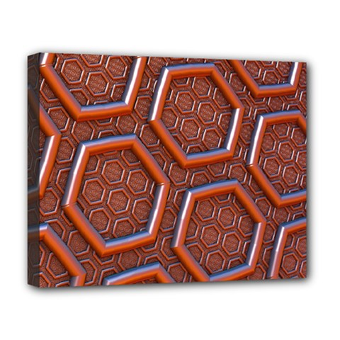 3d Abstract Patterns Hexagons Honeycomb Deluxe Canvas 20  X 16