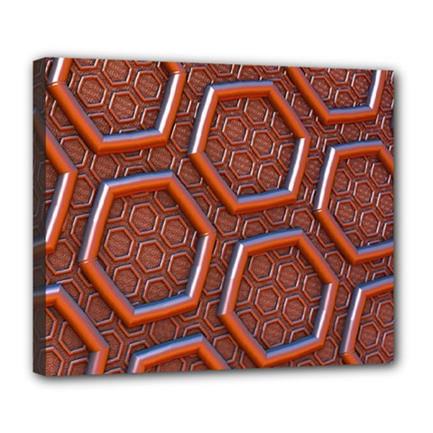 3d Abstract Patterns Hexagons Honeycomb Deluxe Canvas 24  X 20