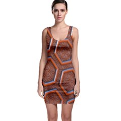3d Abstract Patterns Hexagons Honeycomb Sleeveless Bodycon Dress