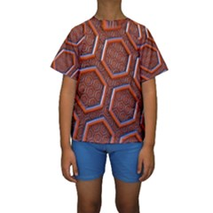 3d Abstract Patterns Hexagons Honeycomb Kids  Short Sleeve Swimwear