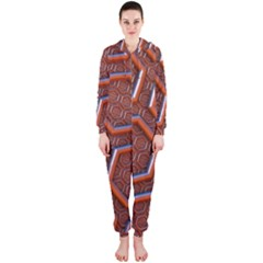 3d Abstract Patterns Hexagons Honeycomb Hooded Jumpsuit (Ladies)