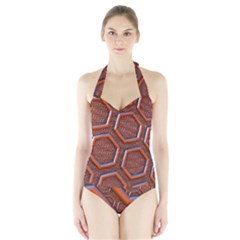 3d Abstract Patterns Hexagons Honeycomb Halter Swimsuit