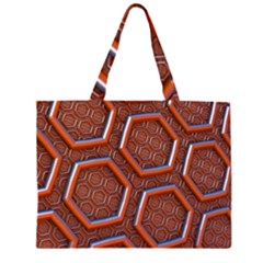 3d Abstract Patterns Hexagons Honeycomb Large Tote Bag