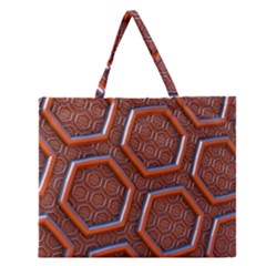 3d Abstract Patterns Hexagons Honeycomb Zipper Large Tote Bag