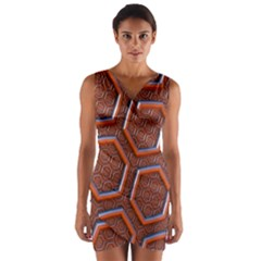 3d Abstract Patterns Hexagons Honeycomb Wrap Front Bodycon Dress