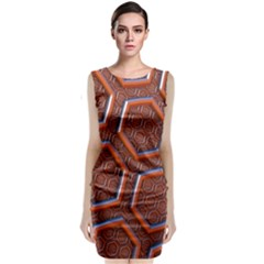 3d Abstract Patterns Hexagons Honeycomb Classic Sleeveless Midi Dress