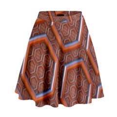 3d Abstract Patterns Hexagons Honeycomb High Waist Skirt