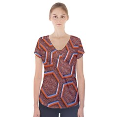 3d Abstract Patterns Hexagons Honeycomb Short Sleeve Front Detail Top