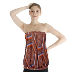 3d Abstract Patterns Hexagons Honeycomb Strapless Top