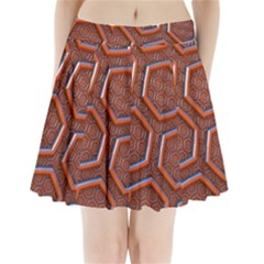 3d Abstract Patterns Hexagons Honeycomb Pleated Mini Skirt
