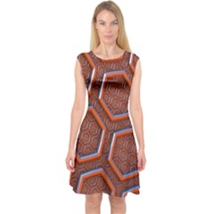 3d Abstract Patterns Hexagons Honeycomb Capsleeve Midi Dress