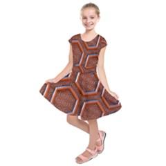 3d Abstract Patterns Hexagons Honeycomb Kids  Short Sleeve Dress