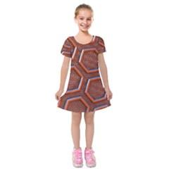 3d Abstract Patterns Hexagons Honeycomb Kids  Short Sleeve Velvet Dress