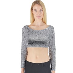 Abstract Flowing And Moving Liquid Metal Long Sleeve Crop Top