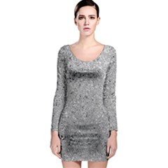 Abstract Flowing And Moving Liquid Metal Long Sleeve Bodycon Dress