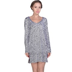Abstract Flowing And Moving Liquid Metal Long Sleeve Nightdress