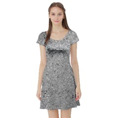 Abstract Flowing And Moving Liquid Metal Short Sleeve Skater Dress
