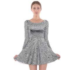 Abstract Flowing And Moving Liquid Metal Long Sleeve Skater Dress