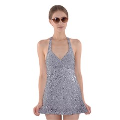 Abstract Flowing And Moving Liquid Metal Halter Swimsuit Dress