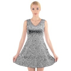 Abstract Flowing And Moving Liquid Metal V Neck Sleeveless Skater Dress