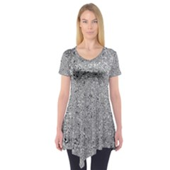 Abstract Flowing And Moving Liquid Metal Short Sleeve Tunic