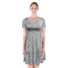 Abstract Flowing And Moving Liquid Metal Short Sleeve V-neck Flare Dress