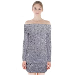 Abstract Flowing And Moving Liquid Metal Long Sleeve Off Shoulder Dress