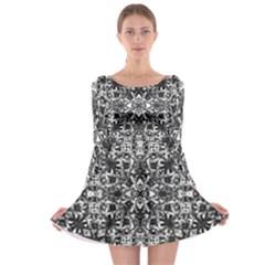 Modern Oriental Pattern Long Sleeve Skater Dress