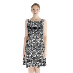 Modern Oriental Pattern Sleeveless Chiffon Waist Tie Dress