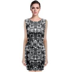 Modern Oriental Pattern Sleeveless Velvet Midi Dress