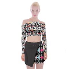 Pattern Shoulder Top With Skirt Set