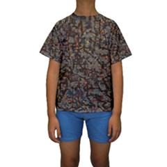 A Complex Maze Generated Pattern Kids  Short Sleeve Swimwear