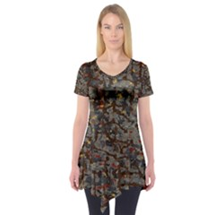 A Complex Maze Generated Pattern Short Sleeve Tunic