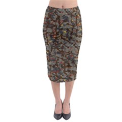 A Complex Maze Generated Pattern Midi Pencil Skirt