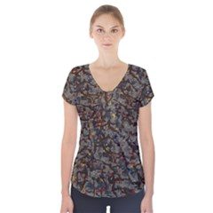A Complex Maze Generated Pattern Short Sleeve Front Detail Top