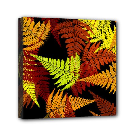 3d Red Abstract Fern Leaf Pattern Mini Canvas 6  X 6