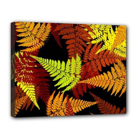 3d Red Abstract Fern Leaf Pattern Canvas 14  x 11