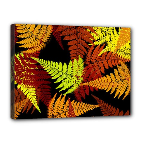 3d Red Abstract Fern Leaf Pattern Canvas 16  x 12