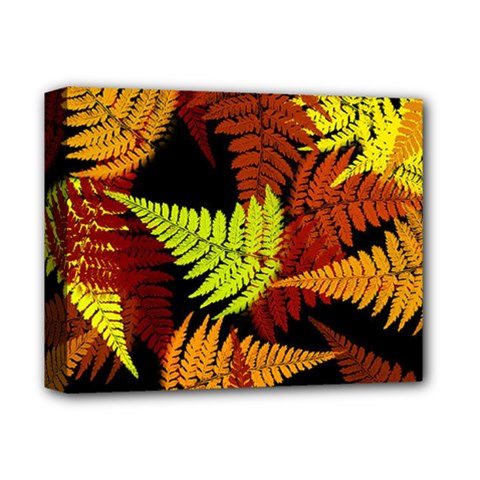 3d Red Abstract Fern Leaf Pattern Deluxe Canvas 14  X 11