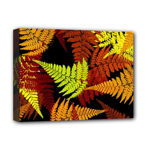 3d Red Abstract Fern Leaf Pattern Deluxe Canvas 16  X 12