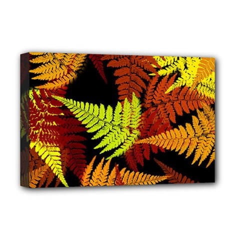 3d Red Abstract Fern Leaf Pattern Deluxe Canvas 18  X 12