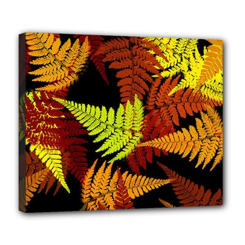 3d Red Abstract Fern Leaf Pattern Deluxe Canvas 24  X 20