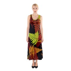 3d Red Abstract Fern Leaf Pattern Sleeveless Maxi Dress
