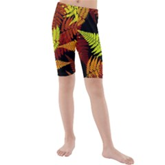 3d Red Abstract Fern Leaf Pattern Kids  Mid Length Swim Shorts
