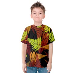 3d Red Abstract Fern Leaf Pattern Kids  Cotton Tee