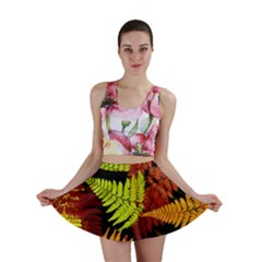 3d Red Abstract Fern Leaf Pattern Mini Skirt
